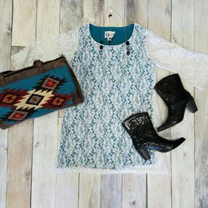 Stretch Turquoise Dress with White Lace Overlay